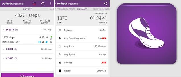 Runtastic pedometer android app